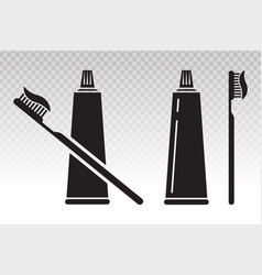 Toothbrush tooth brush and toothpaste flat icon vector