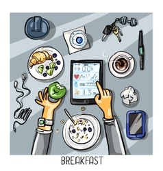Top view background - person having breakfast vector