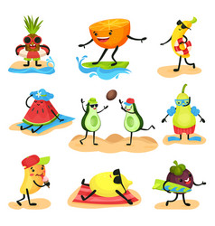 tropical humanized fruit characters spending time vector image