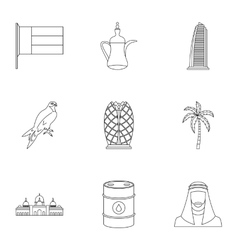 UAE icons set outline style vector
