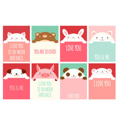 Valentine banner with cute animals vector
