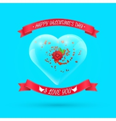 Valentines day background with flower within glass vector image