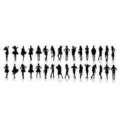 Various silhouettes beautiful model girls vector