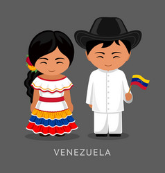 venezuelans in national dress with a flag vector image