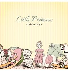 Vintage toys shop leaflet vector