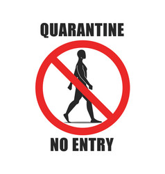 Warning round sign with text quarantine vector