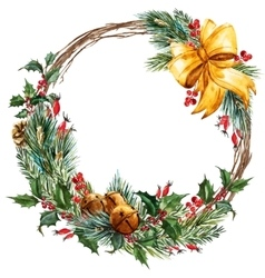 Watercolor christmas wreath vector