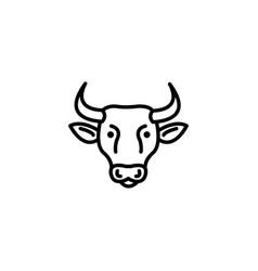 web line icon cow livestock black on white vector image