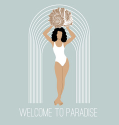 Welcome to paradise hand drawn of vector