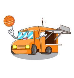 With basketball rendering cartoon of food truck vector