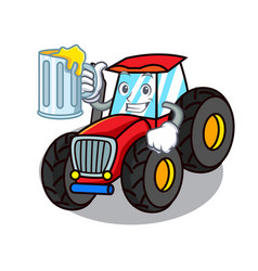 With juice tractor mascot cartoon style vector