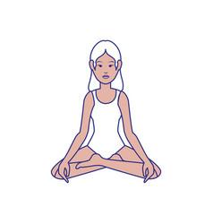 woman yoga cartoon vector image