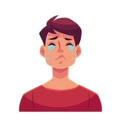 Young man face crying facial expression vector