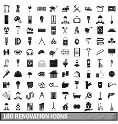 100 renovation icons set in simple style vector image