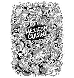 Cartoon cute doodles Mexican food vector image vector image