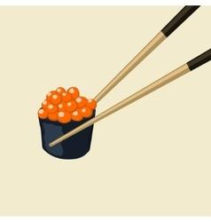 Chopsticks Holding Roll Frame Concept vector image