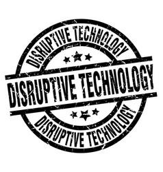 disruptive technology round grunge black stamp vector image vector image