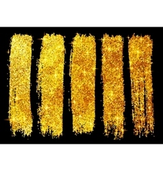 Golden glitter brush strokes set isolated on black vector image