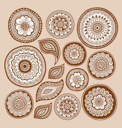 henna tattoo doodle elements zentangle method vector image