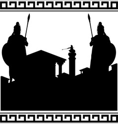 silhouette of ancient city and guardians vector image