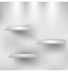 Three empty white shelves vector image vector image