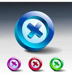 glass icons set close no cancel delete vector image