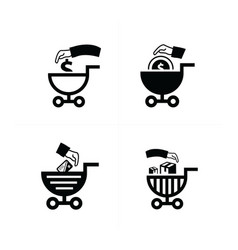 shopping cart icons business style vector image vector image