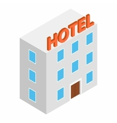 Hotel building isometric 3d icon vector image