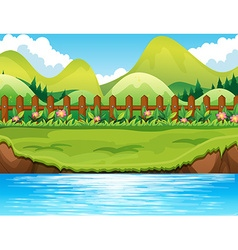 River scene with mountains background vector image vector image