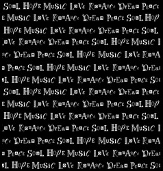 seamless pattern with lettering on black vector image