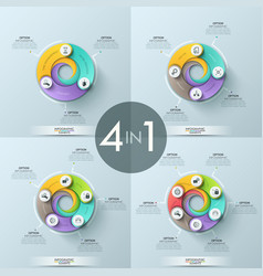 set of 4 infographic design layouts vector image vector image
