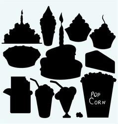 Birthday cupcake cake pie chocolate bar ice cr vector image vector image