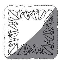 Contour leaves framework icon vector