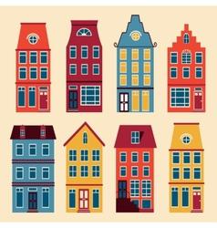 Cute Amsterdam houses set vector image