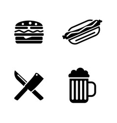 picnic cooking simple related icons vector image