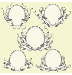 Ribbon frame and border ornaments set 04 vector image