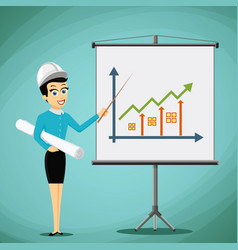 Woman engineer showing on the board a graph of vector