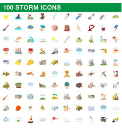 100 storm icons set cartoon style vector image