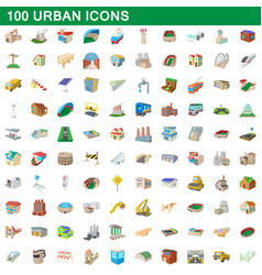 100 urban icons set cartoon style vector