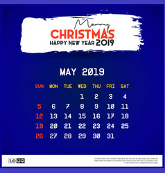 2019 may calendar template merry christmas and vector