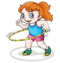 A little Caucasian girl playing with the hulahoop vector