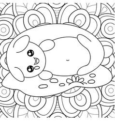 Adult coloring bookpage a sleeping kawaii cat on vector