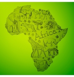 African continent is filled with doodle vector