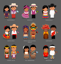 Americans and asians in national dress vector