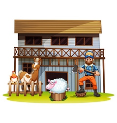 Animals and lumberjack vector