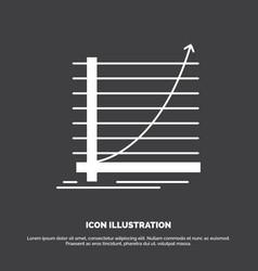 arrow chart curve experience goal icon glyph vector image