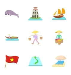 Attractions of Vietnam icons set cartoon style vector