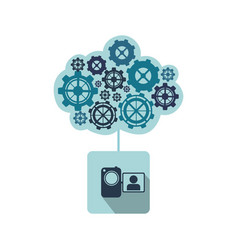 Blue camcorder with gears icon vector