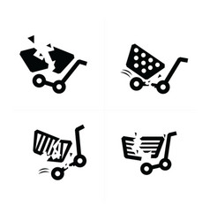 break shopping cart icons vector image vector image