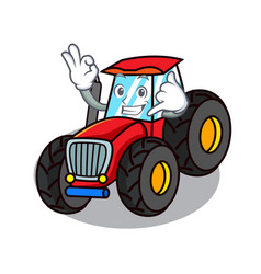 Call me tractor mascot cartoon style vector